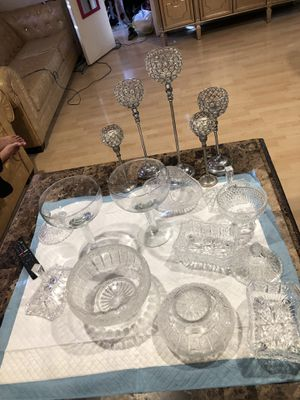 Crystal candy and desert bowls plus 5 candle holders . Cute for living room . Christmas is around the corner for party decors . for Sale in Los Angeles, CA