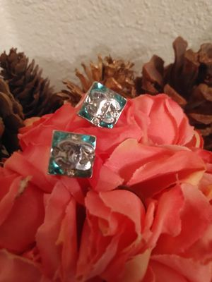 CC...Earrings.. old silver metal cc. turquoise and clear crystal stones NOT MARKED SILVER for Sale in Yuma, AZ