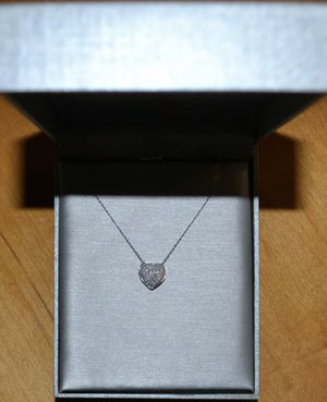 Zales 1/4 Carat T.W. Diamond Pavé Puff Heart 10k white gold necklace for Sale in Key Biscayne, FL