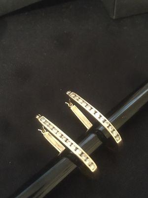 14k gold diamond hoop earrings for Sale in Evanston, IL