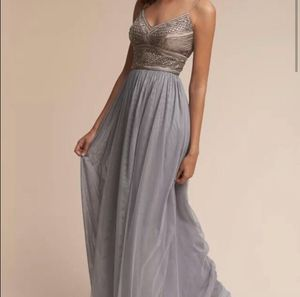 Beaded Gown Adrianna Papell BHLDN sequin grey size 2 for Sale in Seattle, WA