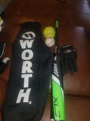 Baseball bat, bag,2 balls and gloves for Sale in West Richland, WA
