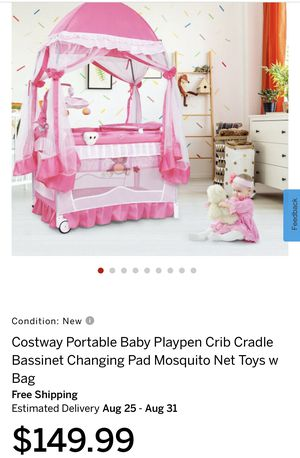 Portable Baby Playpen Crib Cradle Bassinet Changing Pad Mosquito Net Toys w Bag for Sale in Azusa, CA