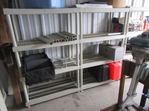 Plastic shelving storage units, four shelves, EUC!h for Sale in Salisbury, MA