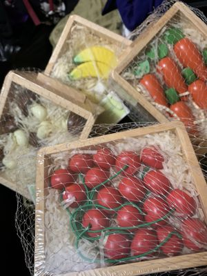 Wooden crates with wooden fruits and vegetables for Sale in Edison, NJ