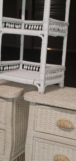 Wicker Dresser + Chair Set for Sale in Woodburn,  OR