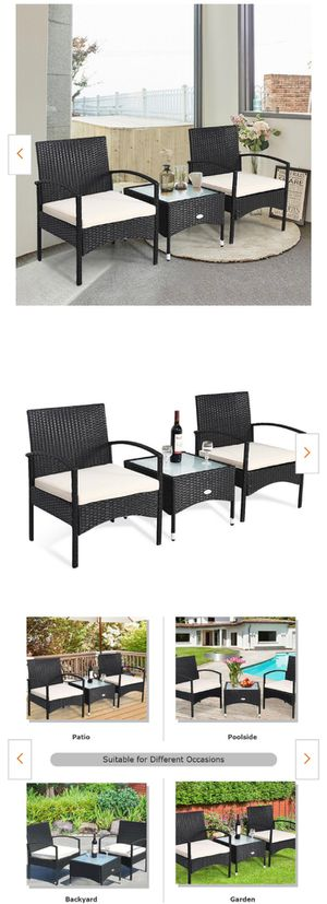 New 3-Piece Wicker Patio Conversation Set with Cushions Coffee Table & 2 Rattan Chair for Sale in Hacienda Heights, CA