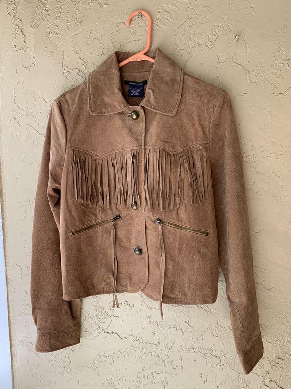 Boston Proper Tan Suede leather jacket size S