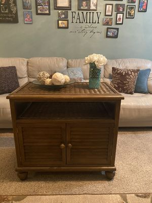 Wood and Wicker Accent Cabinet End Table Night Stand $45 for Sale in GRANT VLKRIA, FL