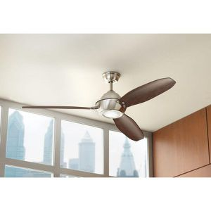 Home Decorators Collection Aero Breeze 60 in. Integrated LED Indoor/Outdoor Brushed Nickel Ceiling Fan with Light Kit and Remote Control NEW for Sale in Plantation, FL