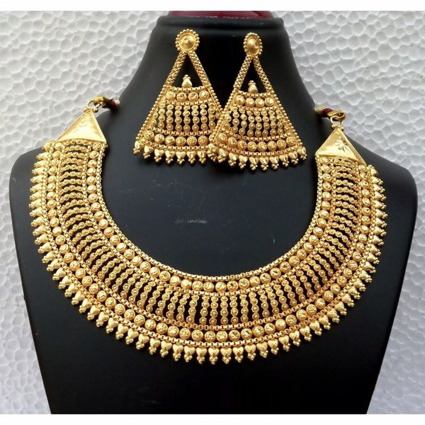 22k gold plated Indian Saudi wedding bridal necklace set jewelry accessory