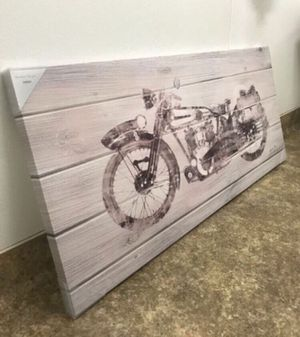 "'Indian Motorcycle' Wall Art Canvas Decor 'Black and White' (55""W x 24""H)(Brand New) for Sale in Parkland, FL"