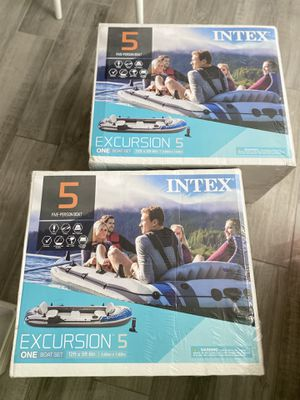 INTEX Excursion 5 Person Inflatable Boat Kayak Oars Paddles Pump Fishing for Sale in Anaheim, CA