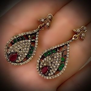 PIGEON BLOOD RUBY EMERALD FINE ART EARRINGS Solid 925 Sterling Silver/Gold WOW! Brilliant Facet Pear/Round Gemstones, Diamond Topaz G8832 V for Sale in San Diego, CA