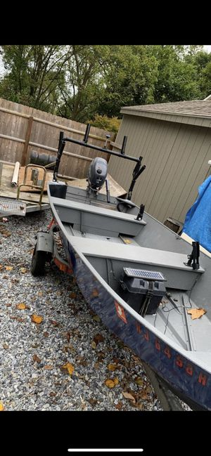 Monarch open aluminum boat with Motor and trailer for Sale in West Chester, PA
