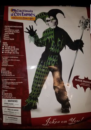 Jester Joker Halloween Costume Child Kids Youth Large 10-12 for Sale in Pinellas Park, FL