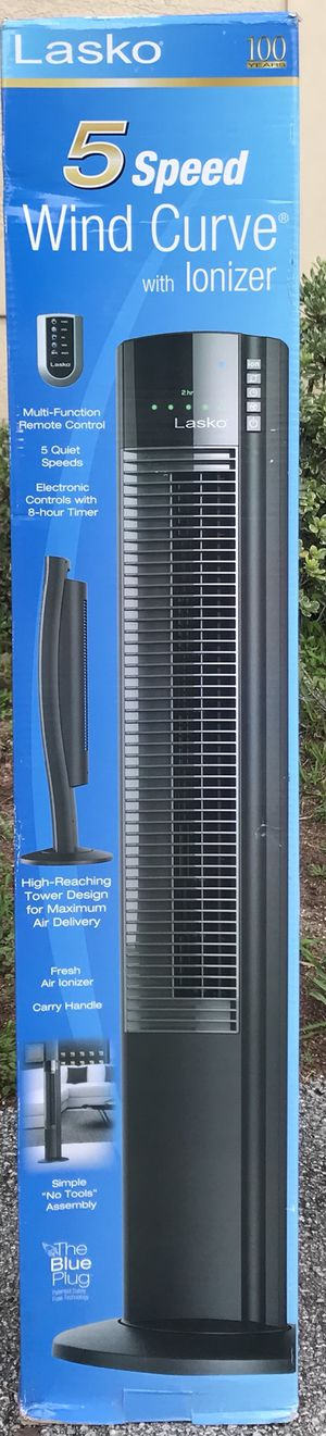 Lasko 5 Speed Wind Curve Fan with Ionizer and Remote for Sale in Citrus Springs, FL