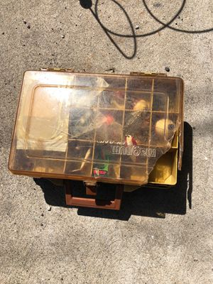 Vintage Plano tackle box with fishing lures for Sale in Chicago, IL