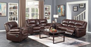 8514 Brown -3pc Set - TOP GRAIN LEATHER for Sale in Houston, TX