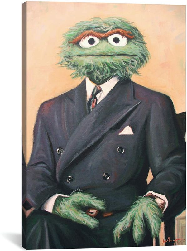 Sir Oscar the Grouch Funny Canvas Painting Art EXCELLENT CONDITION RARE WALL PIECE