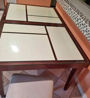 Glass Top Table and 4 White leather Chairs for Sale in Savannah, GA