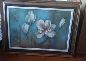 Flower Oil Painting Matted & Framed for Sale in Appomattox, VA