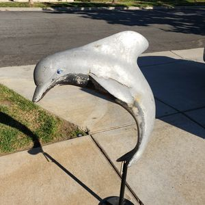 Cool Piece Of Yard Art From Old Fountain Dolphin On Stand for Sale in Rancho Cucamonga, CA