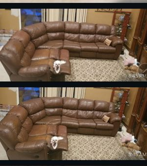 Leather sleeper sectional..Must Sell Today for Sale in Southwest Ranches, FL