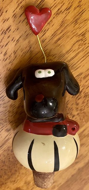 Dog And Heart Glazed Ceramic And Cork Bottle Stopper for Sale in Chapel Hill, NC