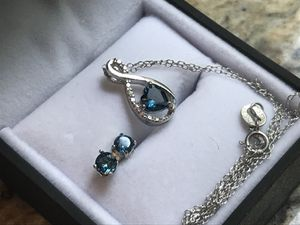 London Blue Topaz and Sterling Silver necklace and earrings for Sale in Elkridge, MD