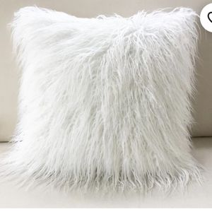 White faux fur pillow cover for Sale in Brooklyn, NY