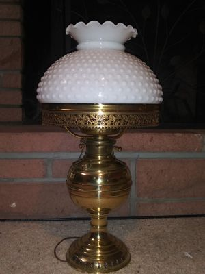 1800's Antique brass oil/electric lamp with glass shade for Sale in Denver, CO