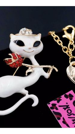 Betsey Johnson Sweet White Enamel Kitty Princess Brooch Necklace2 inch On Alloy & 18 Inch Adjustable Chain for Sale in Northfield,  OH