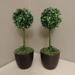 15 Inches Tall..Set Of 2 Artificial Topiary Trees Both For$20 for Sale in Houston, TX