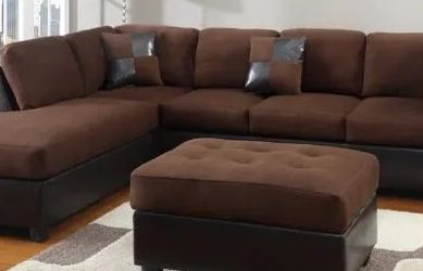 Brown Sectional With Ottoman Brand New Comes With Assembly for Sale in Marietta,  GA