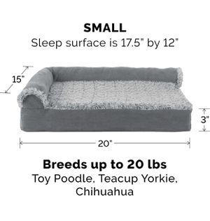Furhaven Pet Dog Bed - Deluxe Orthopedic Two-Tone Plush and Suede L Shaped Chaise Lounge Living Room Corner Couch Pet Bed with Removable Cover for Do for Sale in Balch Springs, TX