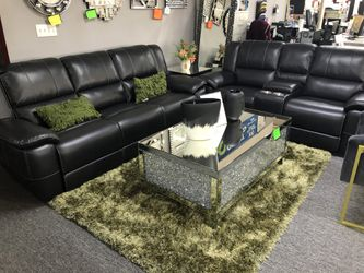 Black Leather Recliner Sofa AND Loveseat KJAKL for Sale in Irving,  TX