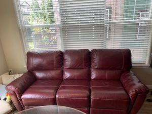 Ashley leather couch (like new) with Manual duel end recline. Must pick up and load. for Sale in Portland, OR