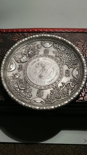 **1880-1900* Rare Tibet Handmade (80% Silver) Antique Guangxu period in Ancient China Dragon pattern plate* D: 100 MM*W: 116. GR.* for Sale in Brooklyn, NY