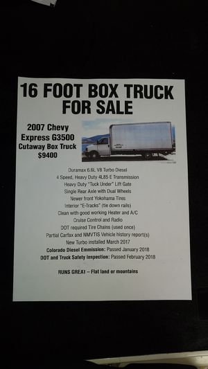 16ft box truck. 2007 Chevy Express G3500 cutaway for Sale in Lakewood, CO