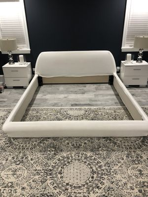 King size bed frame. White leather. for Sale in Gulf Breeze, FL