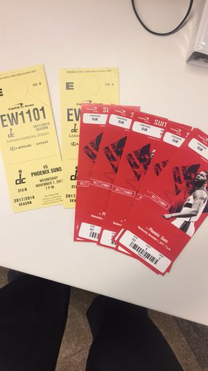 5 tickets 3 parking passes to the wizards vs suns. Free beer/wine!!! 11/01/2017 for Sale in Annandale, VA