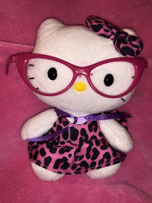 """Hello Kitty 6.5"""" tall pink dress with matching hair bow and glasses plush doll toy $6 sale! 🥳 for Sale in Phoenix, AZ"""