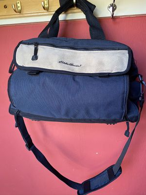 Eddie Bauer Large Navy Blue Canvas and Suede Diaper Bag for Sale in Suffolk, VA