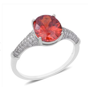 4.85 ctw Simulated Red and White Diamond Ring in Sterling Silver (Size 7) for Sale in Round Rock, TX