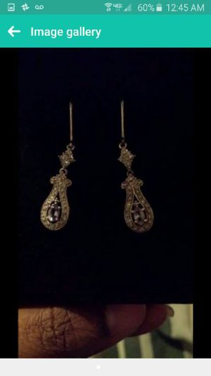 Diamond earrings with lilac birthstone for Sale in Chicago, IL