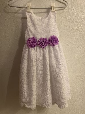 SIZE 10 Girl's American Princess White Dress Dress with purple Ribbon Flowers new for Sale in Greer, SC