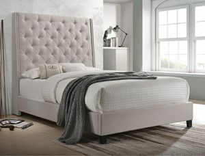 New khaki linen fabric queen size bed with nailhead trim (mattress/boxspring not included) for Sale in Ontario, CA