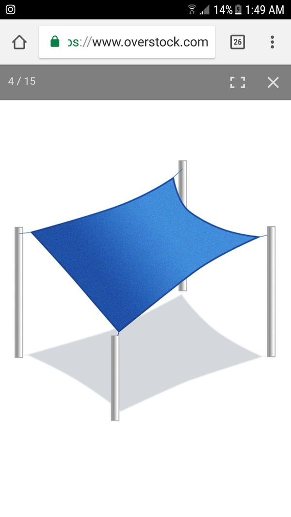Rectangle 18 X 18 Feet Waterproof Sun Shade Sail Canopy Tent Replacement