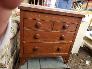 Small vintage wood dresser nightstand marble top for Sale in Beaverton, OR